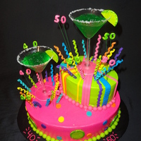 One Margarita, Two Margarita This cake was for 2 cousins that love to get together and drink margaritas! The cake is covered in buttercream with fondant accents. The...