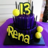 Purple Zebra Softball Cake Two tier purple butter cream softball cake for a very special girls 13th birthday!