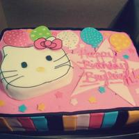 Hello Kitty Sheet Cake Hello Kitty Sheet Cake with 3D Hello Kitty from cereal treats!