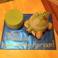 Torterra Pokemon Birthday Cake   Torterra is a Pokemon character with a tree growing out of his shell. The client wanted a blank cake to top with toys