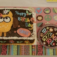 Groovy Owl Made a replica of a napkin... Cherry Chip cake with vanilla frosting dyed brown to match the napkin