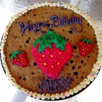 Happy 14Th Cookie Cake with a strawberry on it per request :D ..strawberry is molded from softened starbursts