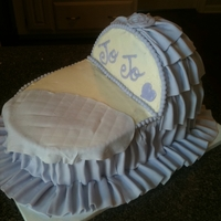 Baby Bassinet Cake in the shape of a baby bassinet. Buttercream with fondant ruffles.