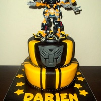 Bumblebee Cake Bumblebee Transformers Cake! 10 and 8 inch tapered cakes to match the new toy from the Birthday boy's Mom.