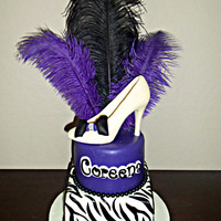 Purple Zebra Glam This is a variation of a cake I have made in the past. Chocolate high heel.