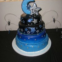 Moon & Stars Sweet 16 Dream Cake I did this cake for a Sweet 16, her theme was Moon & Stars. Her dress was baby blue with black lace and silver rhinestones, so I...