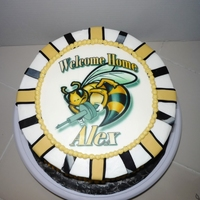 Navy Sea Bee Cake This was a welcome home gift for a friend's husband. He just returned from a 5 month deployment for a humanitarian cruise with the...