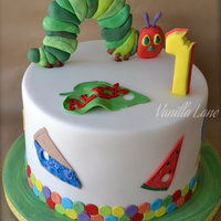 Hungry Caterpillar Themed Cake Cake Was Vanilla With Vanilla Buttercream All Decorations Edible Hungry Caterpillar themed cake. Cake was vanilla with vanilla buttercream. All decorations edible