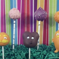 Lorax Cake Pops truffula trees, the lorax and bears