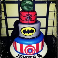 Superhero Cake   *Superhero birthday cake, Captain America, Batman, Spiderman and Hulk.