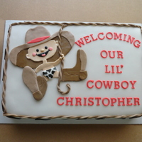 Cowboy Baby Shower Cake Made To Match The Decorations Vanilla Cake Covered In Mmf   Cowboy baby shower cake made to match the decorations. Vanilla cake covered in mmf