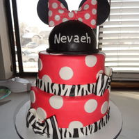 Mini Mouse Birthday Cake With A Little Zebra Print Red Velvet Cake With Strawberry Filling Covered And Decorated In Mmf   Mini mouse birthday cake with a little zebra print! Red velvet cake with strawberry filling. Covered and decorated in mmf.