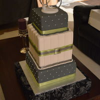 Grey And Green Wedding Cake This was created as a display cake for a bridal expo I'll be in on Sunday.