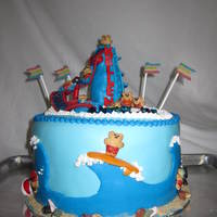 Water Fun Birthday Cake   Swimming pool water slide beach party cake made for grandson's 4th bday