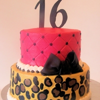 Cheetah And Pink   This is all buttercream with fondant bow and numbers