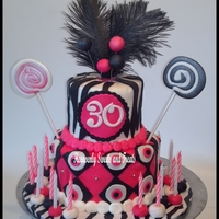 Brandy's 30  Did this cake a few weeks ago for my friend who turned 30. She wanted something fun, zebra, black and pink. This is what I came up with....