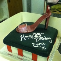 Shoe Cake my first shoe cake with edible shoe.not bad for my first attempt, there was a strap on the shoe but this brke off when i airbrushed the...