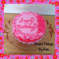 Birthday *9 inch round strawberry cake with strawberry BCRosette sides BC roses