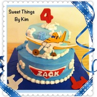 """planes"" Kids Birthday Cake marble cake with BC and fondant decorations"