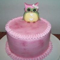 Pink Owl Cake   A baby's smash cake with pink ruffle borders and a handmade owl topper. Idea came from Cake Chick Sam, with permission.