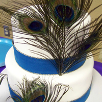 Pea Wedding Cake With Wide Ribbon Border And Feathers Pea**** Wedding Cake with wide ribbon border and feathers