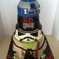 "May 40 Be With You Bottom Tier 10Buttercream With Fondant Darth And R2D2 Covered In Fondant Airbrushed Silver Fondant Accents Clone Tr  May 40 be with you! Bottom tier 10""buttercream with fondant Darth and R2D2 covered in fondant airbrushed silver Fondant accents Clone..."