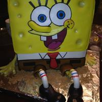 Spongebob, Yellow *chocolate cake, made with fondant, and gumpast accents
