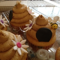 Beehive Cupcakes Chocolate Buttercream Beehive Cupcakes with gum paste decorations
