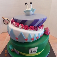 Alice In Wonderland Topsy Turvy Alice in Wonderland Topsy Turvy Cake for a Sweet 16