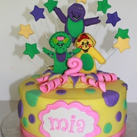 Barney And Friends Barney cake for fabulous 2year old. all hand made, all edible