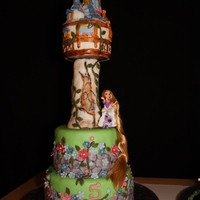 Tangled Cake Cake is 8 and 6 inch rounds . rice crispy tower with ice cream cones on roof. The cake has a plastic dowel with some crispy treats in it to...