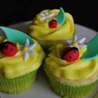 Ladybug Cupcakes Gumpaste Ladybugs, Flowers, and Leaves.