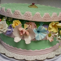 Hatbox Cake Chocolate cake with buttercream frosting. Lid is styrofoam covered in fondant. Base is covered in fondant. Flowers/leaves are gumpaste and/...