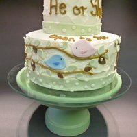 "Baby Reveal Cake He Or She Open To See Its Hard To See But There Is A Small Nest On The Very Top With A Yellow Egg Made Of Fondant By Baby Reveal Cake. ""He or She? Open to See. It's hard to see but there is a small nest on the very top with a yellow egg made of..."