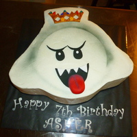 "King Boo Birthday Cake10 Big Cake 4 Layers High Chocolate Cake With Strawberry Filling Buttercream Icing With Fondant Details King Boo Birthday cake.10"" big cake, 4 layers high, chocolate cake with strawberry filling. Buttercream icing with fondant details."