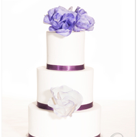 """classic Rose"" Design In Purple couple did choose for one of my standard designs called ""classic roses"", color scheme purple. its a 9/7/5inch vanilla-bean cake..."