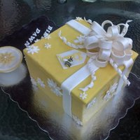 Daisy Cake Box Happy Birthday to My Sister-In-Law. Lemon Cake Filled with Lemon Curd and Vanilla Frosting in a Chocolate Clay Box with Fondant Accents....