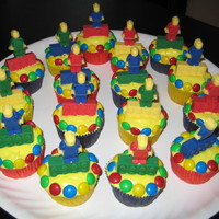 Lego My Cupcakes!  For my Jack The Lego King to share with his classmates for his 6th birthday. Chocolate Lego Minifigures and Bricks surrounded by M&Ms...