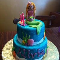 Mermaid/under The Sea Cake 8 in an 6 inch round all fondant!