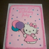 Hello Kitty All Buttercream with Color Flow Hello Kitty and Balloons