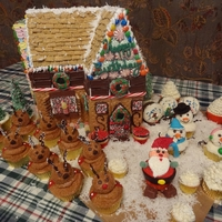 Santa And The Gang   Santas gingerbread style house with him and his cupcake friends