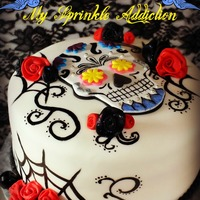 Sugar Skull Cake Sugar Skull Cake with fondant roses! Inspired by freakymama23!! Thank you Kylie!!
