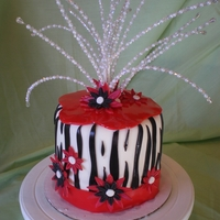 Zebra And Daisy zebra design with daisies. red, black and white