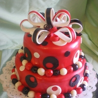 Birthday Cake butter cake with red, black and white fondant and fondant bow