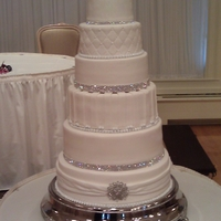 Wedding Cake White cake with raspberry filling. First time using Fondx, love it!!!