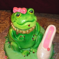 Froggy Cake   White cake covered with fondant and airbrushed