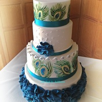 Peacock Themed Wedding Cake Handpainted   Peacock themed wedding cake.Handpainted