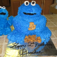 Cookie Monster 3D Cookie Monster cake for my son's 2nd birthday. It was my first cake with dimension and I think it came out pretty good.