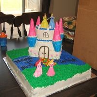 Princess Cake The bottom layer is all cake and the castle is carved cake and ice cream cones to make the pillars.