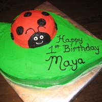 Ladybug On A Leaf This was for a friend's daughter's 1st birthday. It is all cake - cut and carved into shape - with buttercream icing.